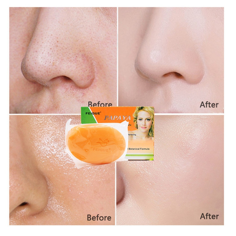 Купить с кэшбэком Natural Botanical Formula Papaya Whitening Anti-freckle Soap Deep Cleaning Brighten Face Care Wash Basis Soap