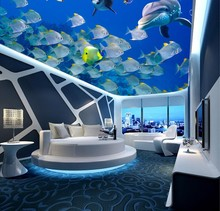 Happy Ocean Fish Dolphin 3D Ceiling Mural blue curtains for kids room