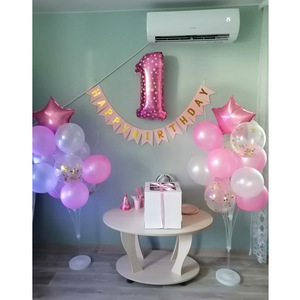 Image 4 - Pink Foil Number Balloon Confetti Latex Air Balloons 1st Happy Birthday Party Decorations First Baby Baby Girl Boy My 1 One Year
