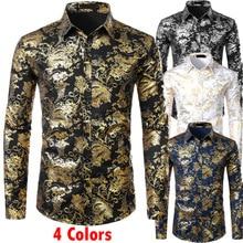 Camisas con estampado Floral dorado para hombre, camisa bronceado ajustada brillante, para boda, fiesta, graduación, XXL