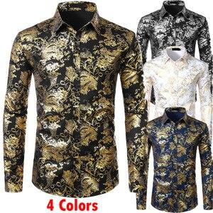 Image 1 - Chemises à fleurs pour hommes en or brillant coupe ajustée Chemise bronzante hommes mariage Club scène Chemise de bal Homme Chemise Homme Camisas Masculina XXL