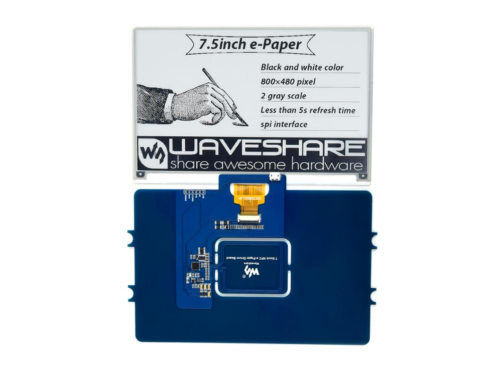 Waveshare 1.54inch NFC-Powered e-Paper No Battery Wireless Powering and Data Transfer Black Grid Case