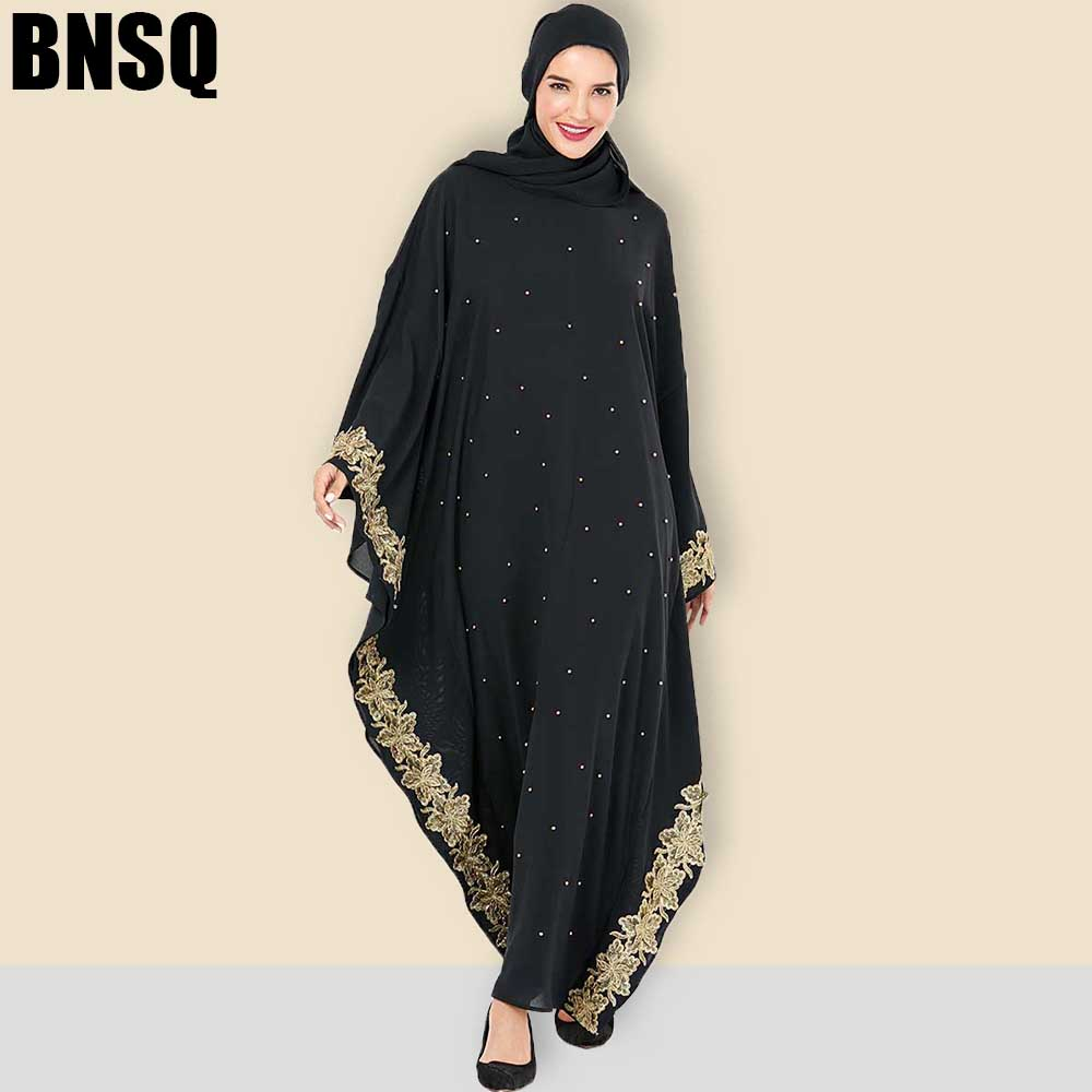 BNSQ Dubai Abaya Women Hijab Evening Dress Arabic Caftan Morocain Kaftan Djelaba Femme Muslim Dress Islamic Clothing Plus Size