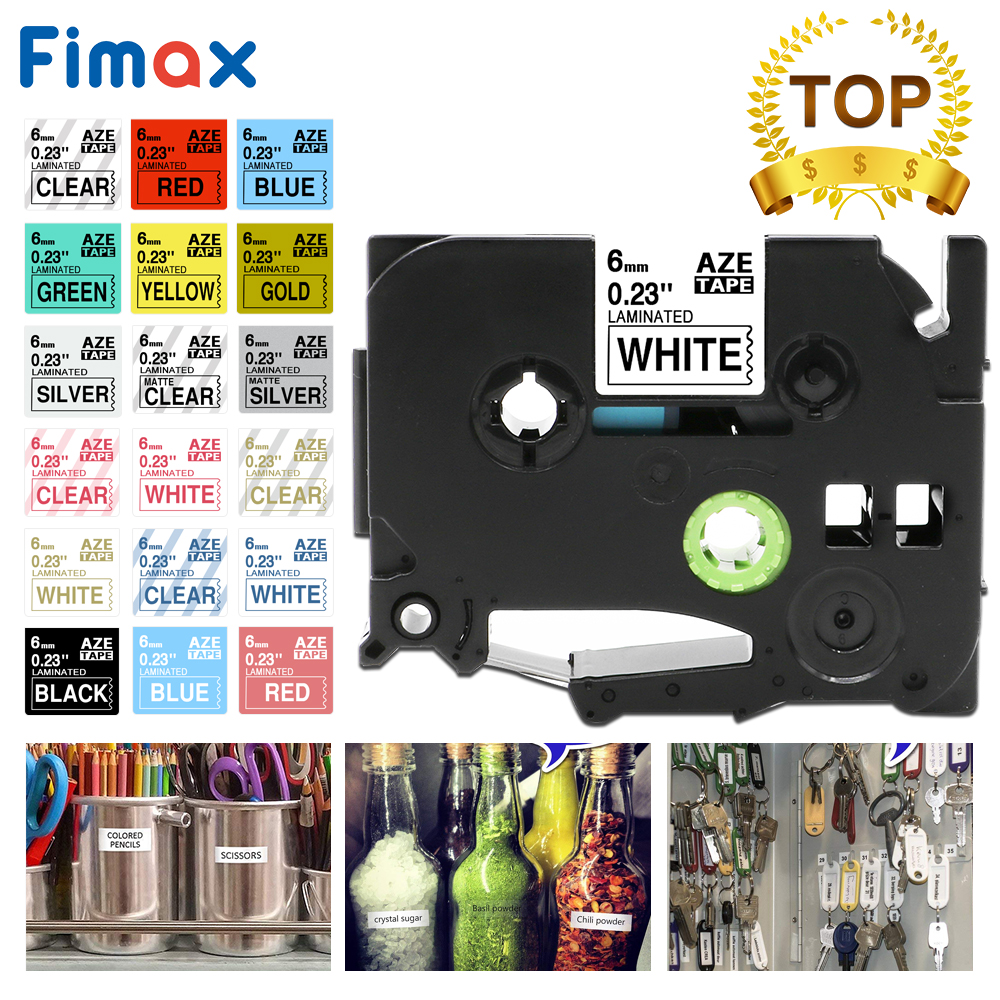 Fimax 1 Pcs TZe-211 Tze611 Tze-111 Compatible For Brother P-touch Label Tape 6mm Black On White For Brother P Touch Printer