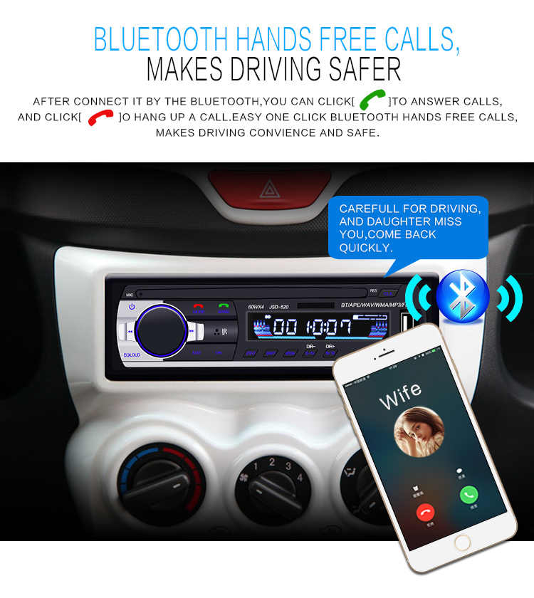 Autoradio 12V JSD-520 カーラジオの Bluetooth 1 Din ステレオプレーヤー AUX-IN MP3 Fm リモコン電話オーディオ