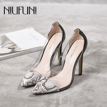 2019 New Ladies Sandals Sexy Snake Pattern Women's Shoes High-heeled Pointed Single Shoes Transparent Hollow Banquet Wedding все цены