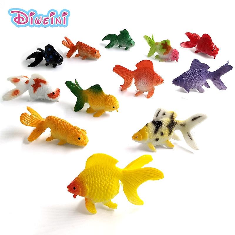 12 шт. Малый Kawaii морской рыбы Золотая рыбка животное модель фигурку для Diy торта на день рождения украшения набор игрушек Фигурка подарок для ...