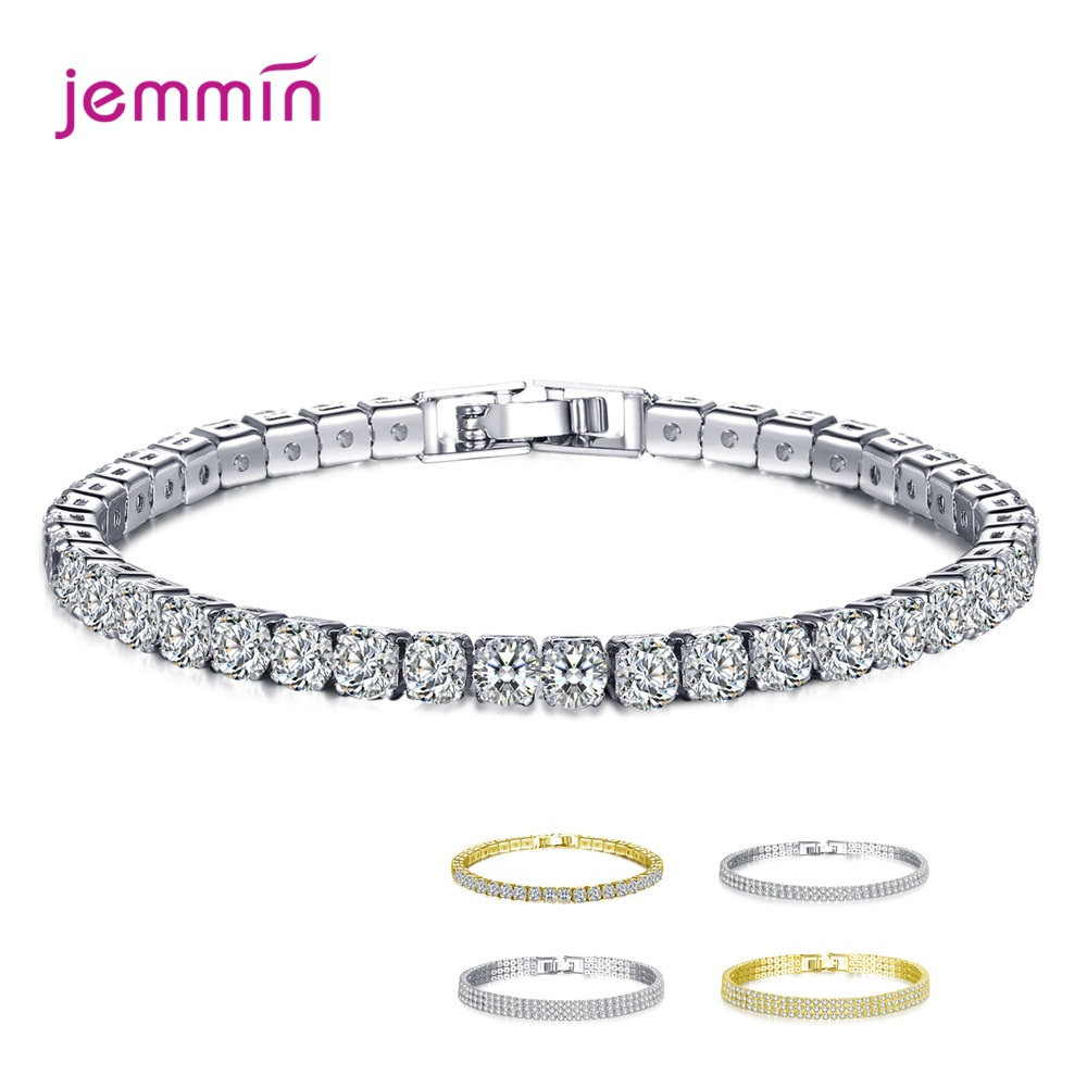 New AAA 1 Carat Round Cubic Zirconia Tennis Bracelets Micro CZ Inlay Bracelets & Bangles 925 Sterling Silver Wedding Engagement