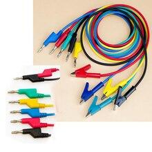 """5 шт. Простая установка штекер типа """"банан"""" для зажима типа """"крокодиловый крокодил"""" двойной тест линии зонд силиконовый кабель складной провод Электрический Сейф"""
