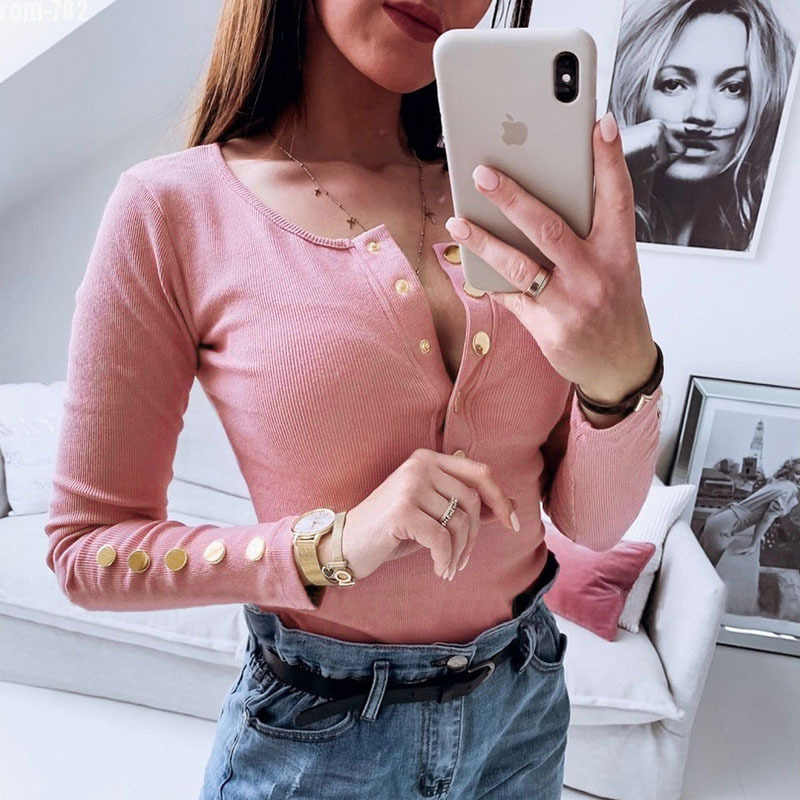 2019 г. Для зрелых женщин импортные товары Европа Америка глубокий v-образный вырез с металлическими пряжками сплошной цвет розовый оранжевый с длинным рукавом Повседневная одежда укороченный топ
