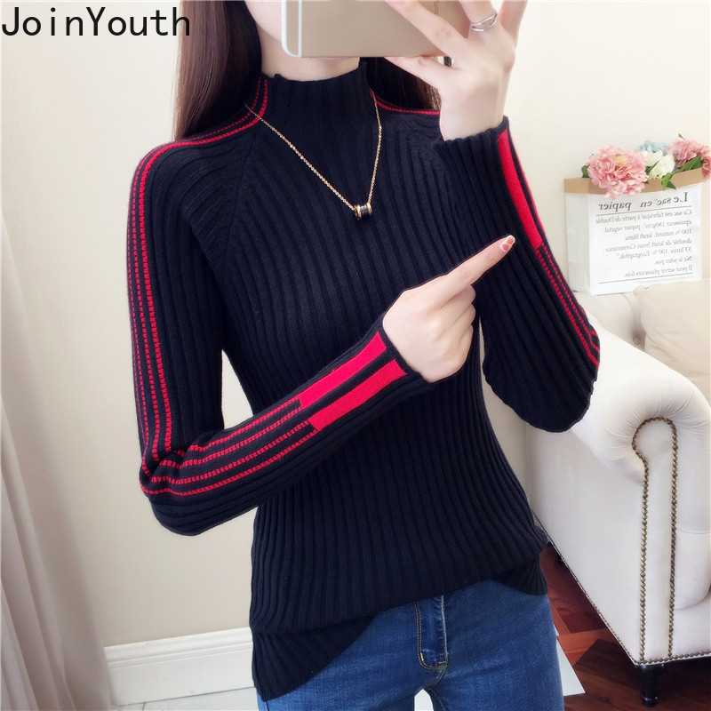 JoinYouth Half Turtleneck Striped Sweaters Women Warm 2019 Autumn Pullovers Fashion Casual Panelled New Pull Femme Korean J302