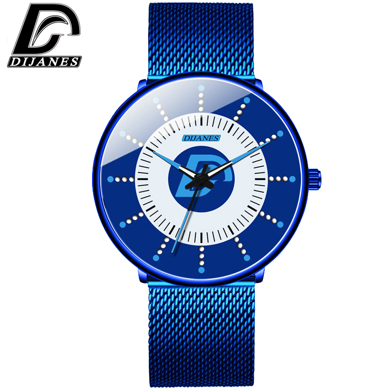 DIJANES 2020Mens Minimalist Watches Ultra Thin Mesh Belt Watch Luxury Men's Watch Business Casual Quartz Wristwatch Reloj Hombre
