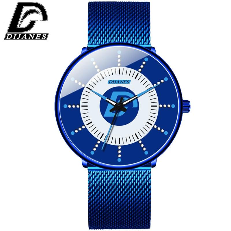DIJANES 2020Mens Minimalist Watches Ultra Thin Mesh Belt Watch Luxury Men's Watch Business Casual Quartz Wristwatch Reloj Hombre