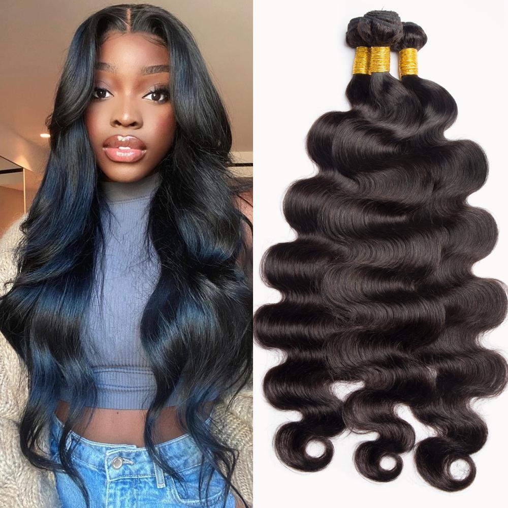 10-26 28 30inch Body Wave Human Hair 1 3 4 Bundles Brazilian Hair Weave Bundles Wavy Human Hair Extension For Braid or Ponytails