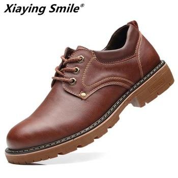 2019 Men's Fashion Leather Work Shoes Lace Up Casual Shoes Genuine Leather Male Student Skate Shoe Low Shoes Zapatos De Hombre