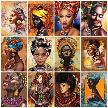 AZQSD Full Square Drill Diamond Painting African Woman Handicraft Embroidery Cross Stitch 5D DIY Home Decor