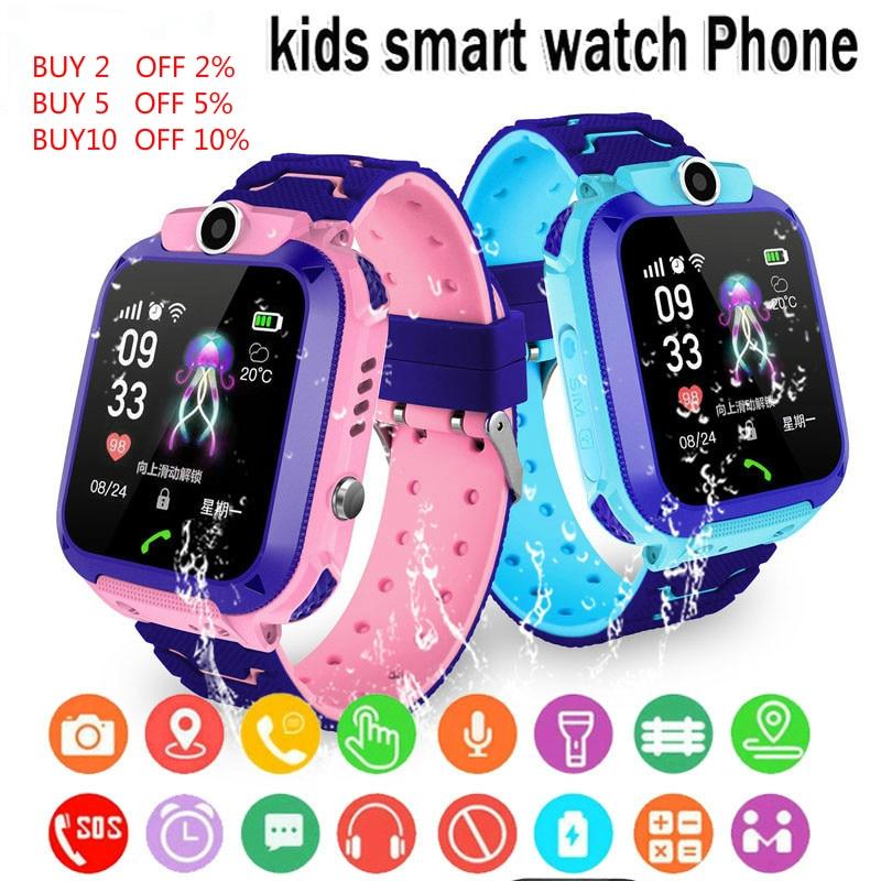 Q12 crianças relógio inteligente sos telefone relógio smartwatch para crianças com cartão sim foto à prova dip67 água ip67 presente para ios android