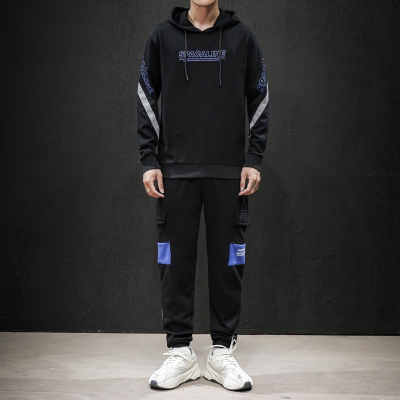 Men Leisure Sports Suit Japanese-style Trend Hooded Cool Handsome Hot Sales-Hoodie Two-Piece Set