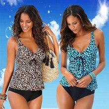 Tankini 2020 Women Swimsuits Two Piece Bikini Set Push Up Swimwear Vintage Padded Bathing Suit Female Beachwear Plus Size 3XL