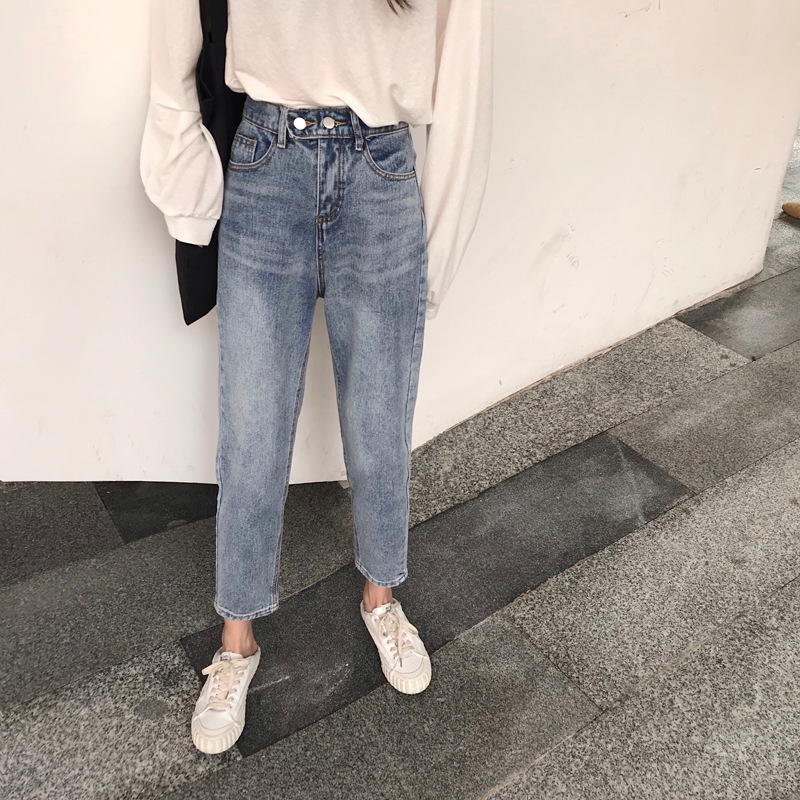 CEC Straight-Cut Jeans Women's Loose-Fit Spring And Autumn 2019 New Style Dad Slimming Harem High-waist Ankle-length Loose Pants