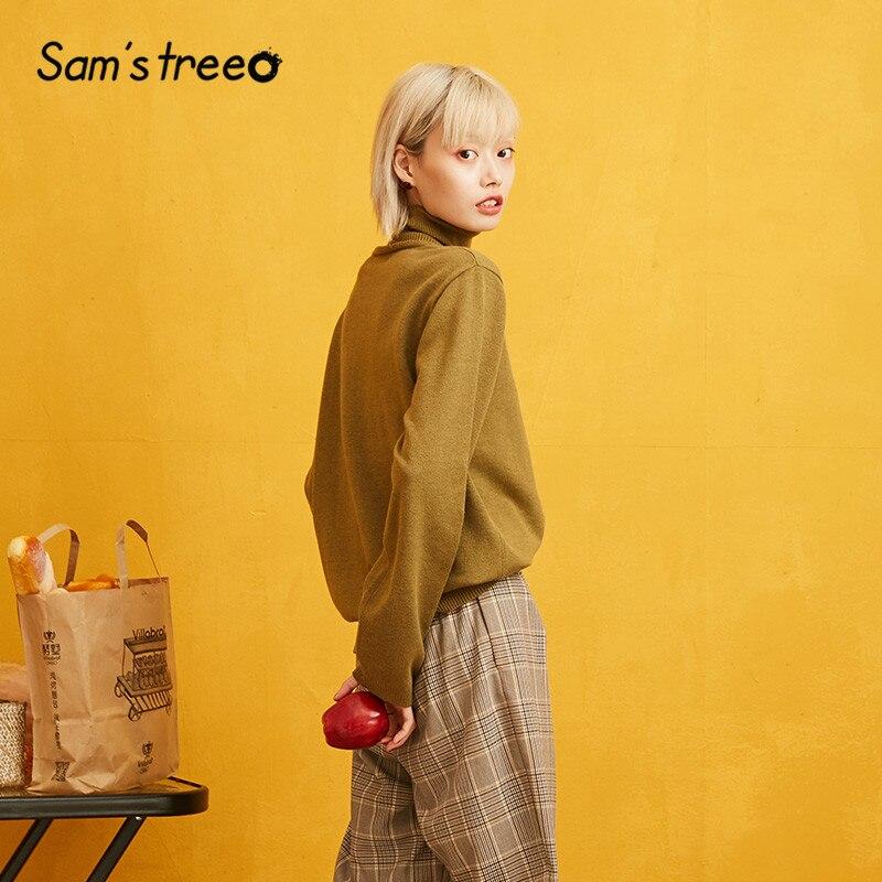 Image 3 - SAMS TREE Solid Turtleneck Minimalist Style Pullover Sweater Women 2019 Autumn Full Sleeve Knitted Casual Office Ladies TopsPullovers   -