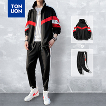 TONLION Fashion Sporting Tracksuit Men Set Black Red Clothes Patchwork Zipper Fly Jacket and Pants Full Length 2020 Spring