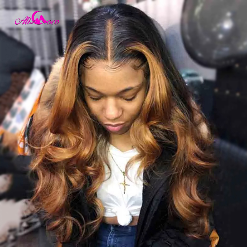 Ali Coco #4/30 Highlight Colored Human Hair Wigs Pre Plucked Lace Front Human Hair Wigs Ombre Remy Body Wave Frontal Wig