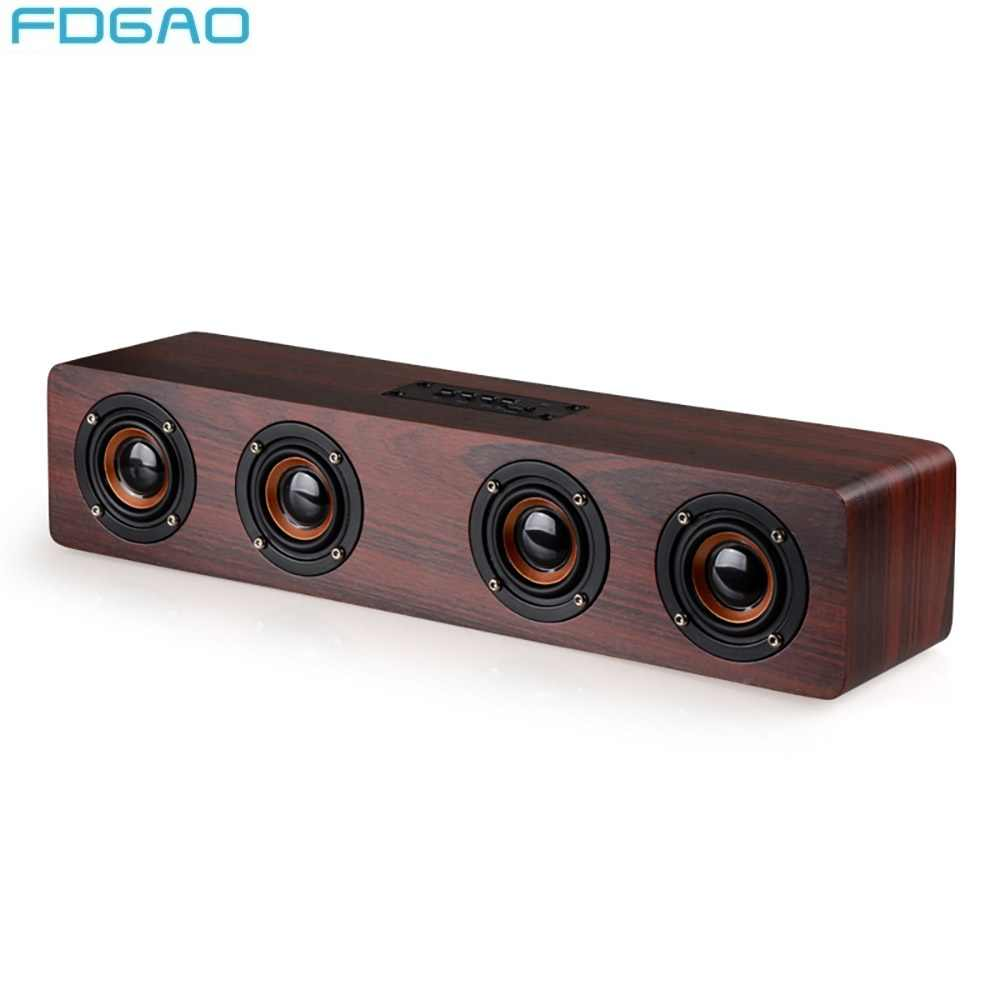 Fdgao Kayu Nirkabel Bluetooth Speaker TV Home Theater Komputer Stereo Audio 12W High Power Portable FM Radio Speaker