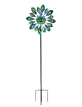 """Wind Spinner 51"""" Peacock Double Wind Sculpture is Suitable for Decorating Your Patio, Lawn & Garden"""
