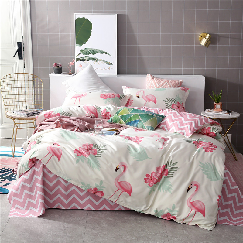 Lanke Flamingo Cotton  Bed Bedding, King Queen Size Bedding Sets,Home Textile Bedclothes, Simple Style 4pcs Bed Sets
