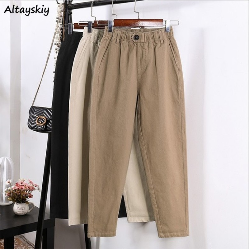 Pants Women Plus Size Autumn Full Length Slim Button Womens Korean Fashion Sweatpants Hot Sale Streetwear Harajuku Trousers Chic