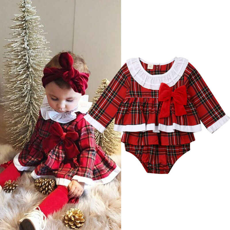 2019 Xmas Red Plaid Romper Toddler Baby Girl Christmas Romper Red Plaid Xmas Infant Baby Outfit Clothes