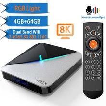 8K 4K A95X أندرويد 10.0 صندوق التلفزيون Amlogic S905X3 يوتيوب واي فاي 2.4G & 5.8G 64GB مجموعة صندوق