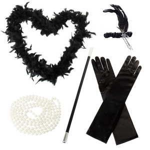 Newest 5 Pcs/Set Flapper Girl Fancy Dress Accessories Hen Party Charleston Gangster Gatsby Costume Kit TY66