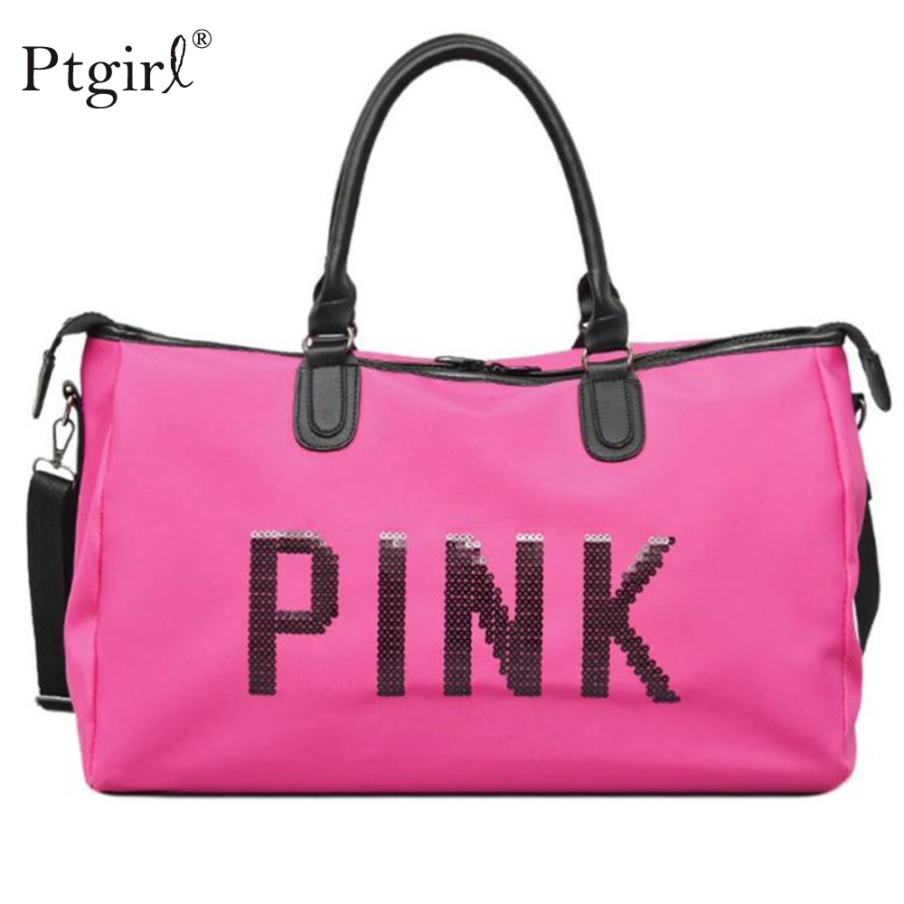 2019 Ladies Black Shoulder Bag Pink Sequins Women Handbag Ptgirl Ladies Weekend Sport Portable Duffel Bag Waterproof Bolsos Sac