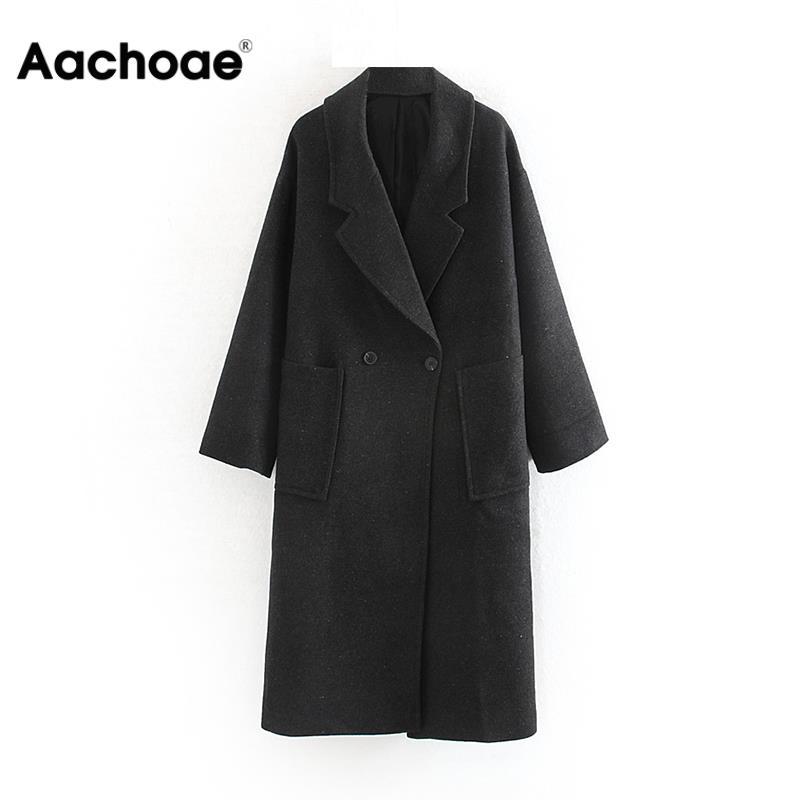 Femmes mode noir Long Manteau à manches longues veste ample poches Double boutonnage droit veste hauts décontractés unis Manteau Femme