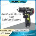 WORX WU130 профессиональный инструмент 12 В бесщеточный электродрель Беспроводная электрическая отвертка с 2 батареями и зарядным устройством