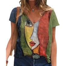 Camiseta con cuello en V para mujer, remera informal con estampado de gran tamaño, ropa Vintage holgada, ropa de calle Y2K, ropa de manga corta S-5XL