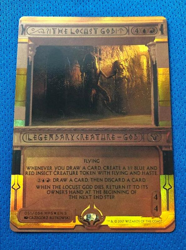 The Locust God Invocations (MP2) Golden Holofoil Magician ProxyKing 8.0 VIP The Proxy Cards To Gathering Single Mg Card.