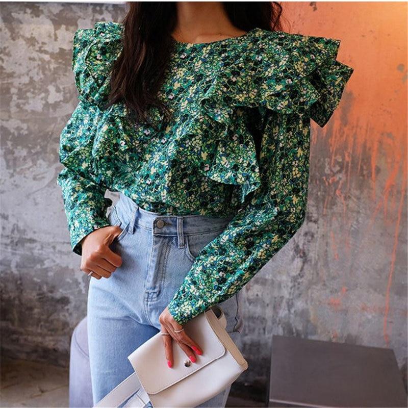 Alien Kitty Korea Ruffles Cute Print Floral Sweet 2019 O-Neck Loose Tops Casual Stylish Women Chic Streetwear All-Match Shirts