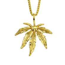 Hip hop gold leaf pendant necklace individual maple leaf men and women fashion collar