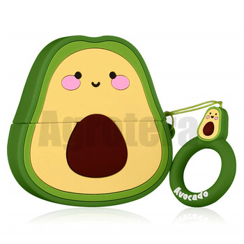 Agrotera 50 Pieces Funny 3D Cute Cartoon Fruit Avocado Soft Silicone Shockproof Charging Case Cover for Airpods 1 & 2 Pro