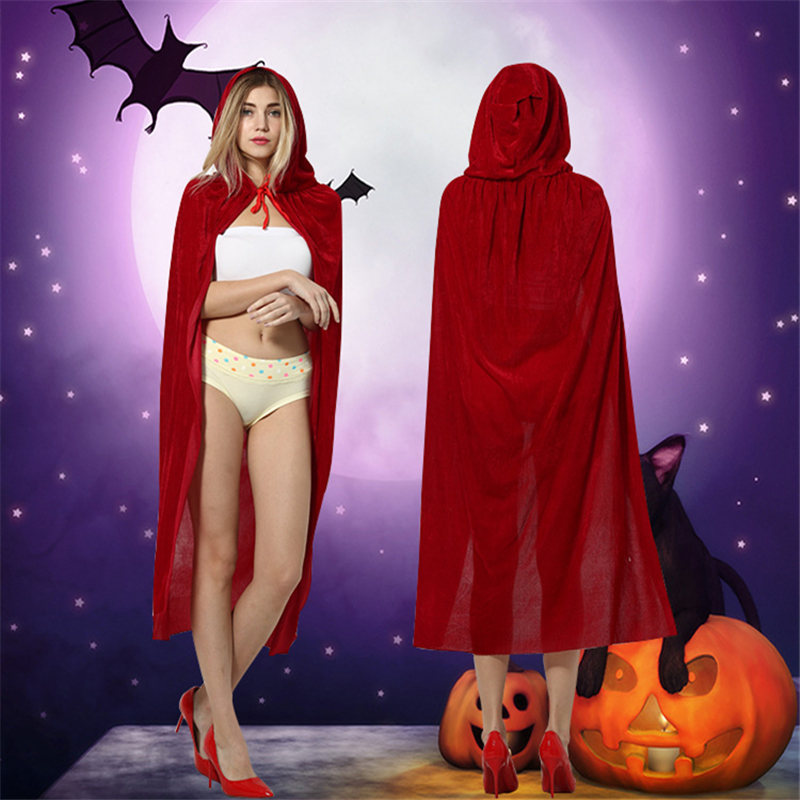 <font><b>150*100</b></font> cm Women Halloween COSPLAY Cape Solid Color Red Cloak Flannelette Material Neck Lace Up Hooded Mantle image