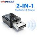 Bluetooth 5,0 стерео аудио 2in1 приемник передатчик Мини Bluetooth AUX USB 3,5 мм Jack для ТВ ПК A2 автомобильный набор, свободные руки, Беспроводной адаптер