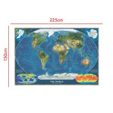 Non-woven Spray World Map 150x225cm The Satellite with Flag and Surface Temperature