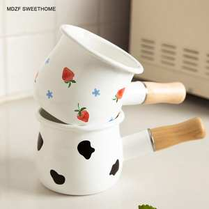 Milk-Pot Cookware Wooden-Handle Milk-Coffee-Saucepan SWEETHOME Breakfast Induction Enamel