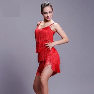 Image 3 - Latin Dress 2019 New Adult Modern Ballroom Latin Dance Dress tassel Fringe Salsa Tango Dance Wear Black Performance Stage Wear