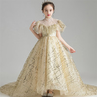High Quality Girls Children Luxury Sequined Evening Holiday Party Princess Long Tail Dress Kids Teens Piano Costumes Host Dress