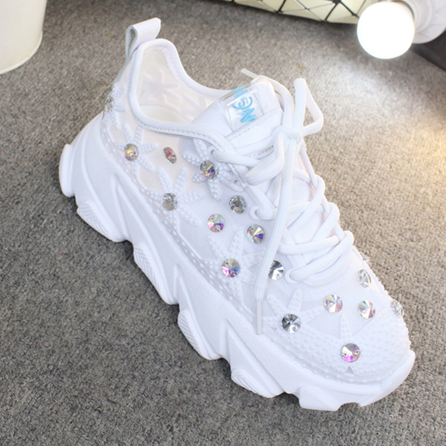 Rhinestone Wedge Sneakers Women Trainers Dames Chunky Sneaker Platform 2020 White Sneaker Casual Shoes Woman chaussures femme 5