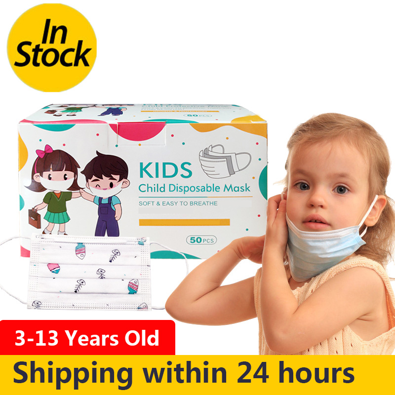 100pcs Children Face Mask Cartoon Printed Soft Skin-friendly Disposable Mouth Cover Mask Boys Girls Personal Thicken Mouth Mask